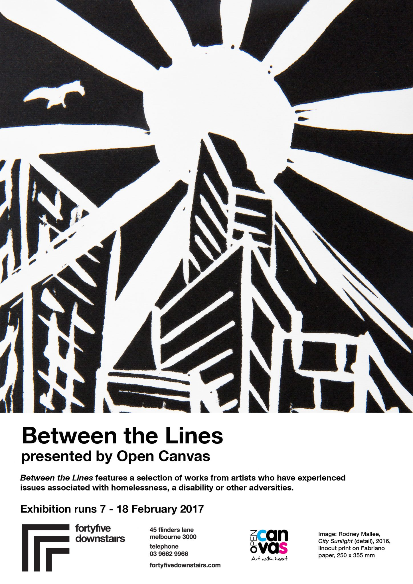 Between the Lines Open Canvas exhibition at fortyfivedownstairs