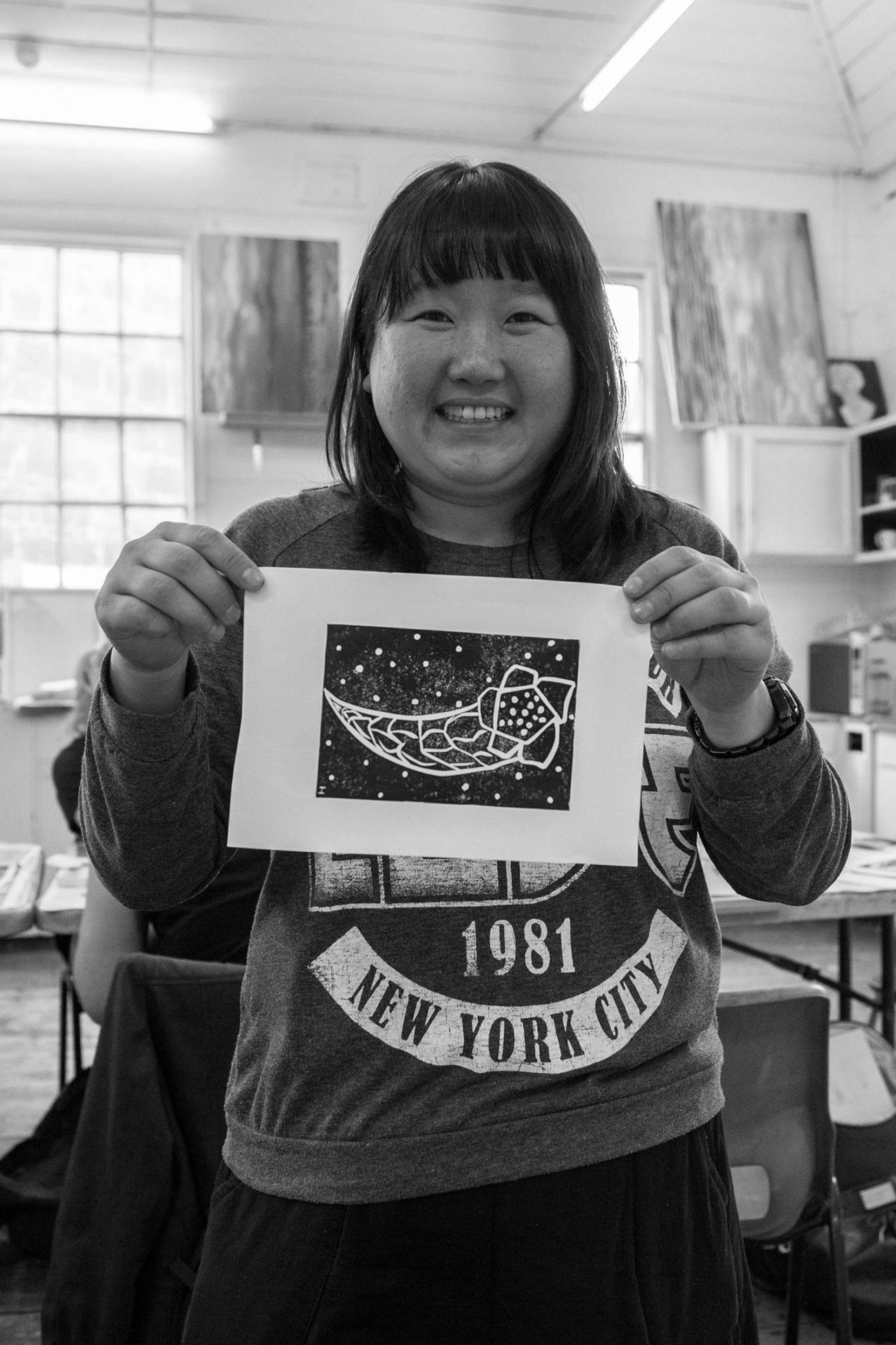 Open Canvas artist Irene Hwang at a linocut workshop