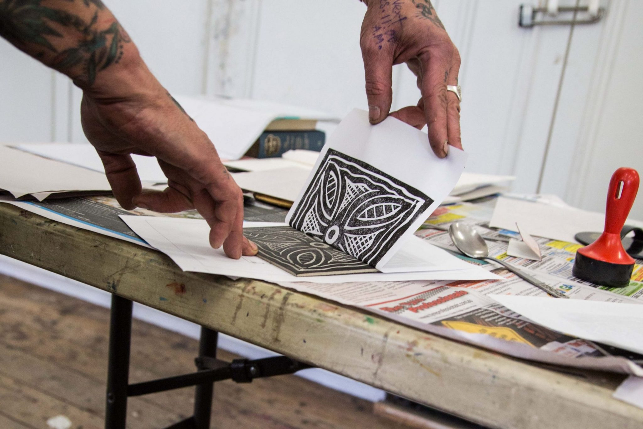 Open Canvas linocut workshop