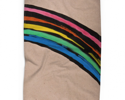 Open Canvas artist Irene Hwang tea towel Rainbow