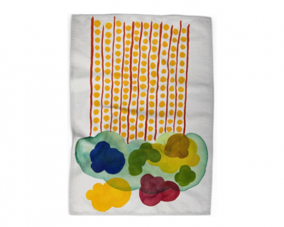 Open Canvas artist Irene Hwang tea towel Cloud with Lines and Dots