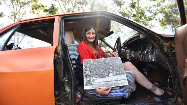 Jacqui's car, which also doubles as her studio. Photo: Joe Armao from The Age