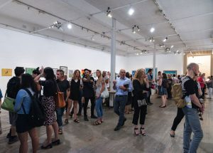 A great turnout to launch the Open Canvas exhibition Between the Lines. Picture: James Labagala