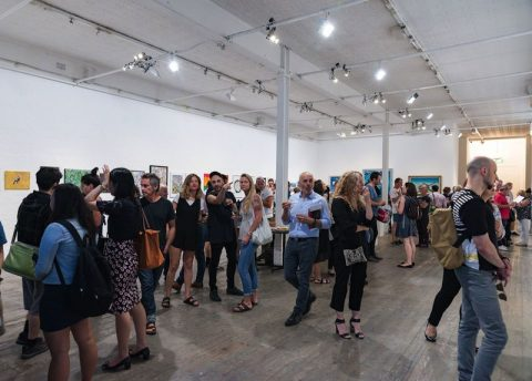 A great turnout to launch the Open Canvas exhibition Between the Lines at fortyfivedownstairs in Melbourne. Picture: James Labagala