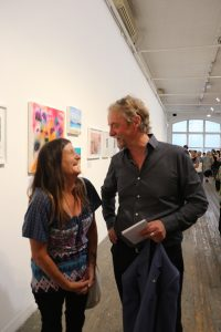 Open Canvas artist Jacqui and Wintringham CEO and 2016 Melburnian of the Year Bryan Lipmann at the Open Canvas Between the Lines exhibition launch. Picture: James Sampson