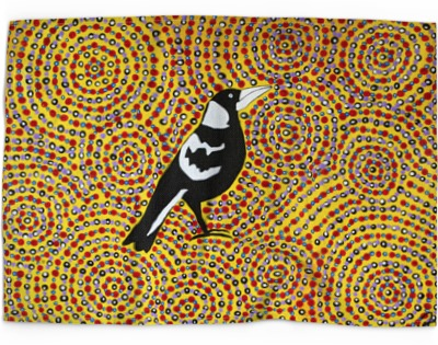 Mick Breen Australian Native Magpie tea towel
