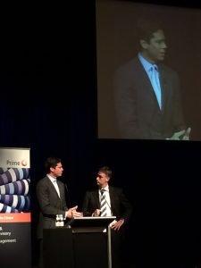 AFL CEO Gillon McLaughlin is interviewed at the Mayday charity lunch.